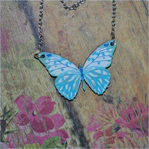 Jewelry - Wooden Butterfly Necklace - BLUE